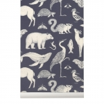 Tapeta Animal Katie Scott by Ferm Living - granatowa + klej gratis